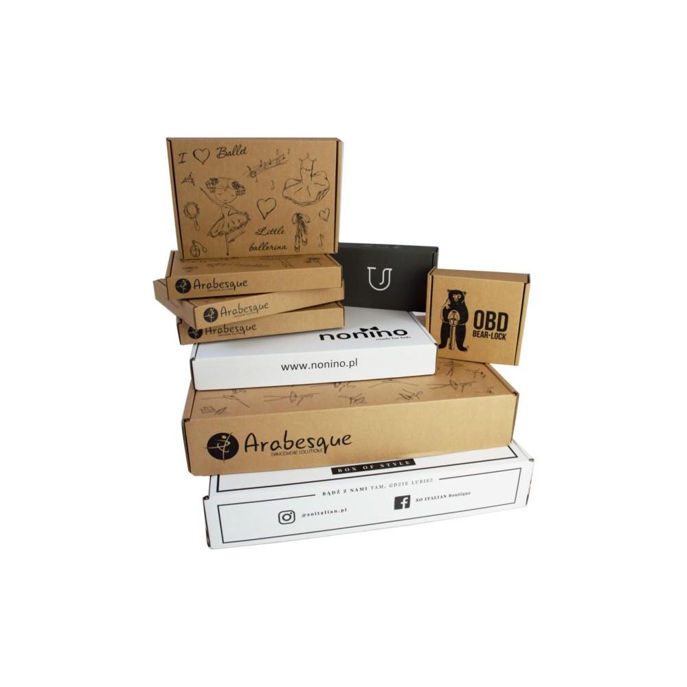 Karton fasonowy 334x244x45 brązowy z nadrukiem