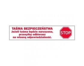 """Taśma HOT-MELT 60y """" TAŚMA BEZPIECZEŃSTWA-STOP""""_23754"""