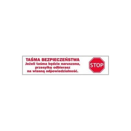 """Taśma HOT-MELT 60y """" TAŚMA BEZPIECZEŃSTWA-STOP"""""""