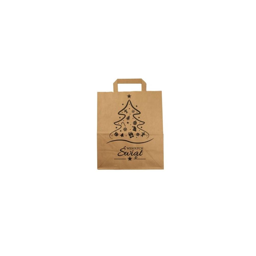 Torba papierowa świąteczna brązowa 220x100x300 mm